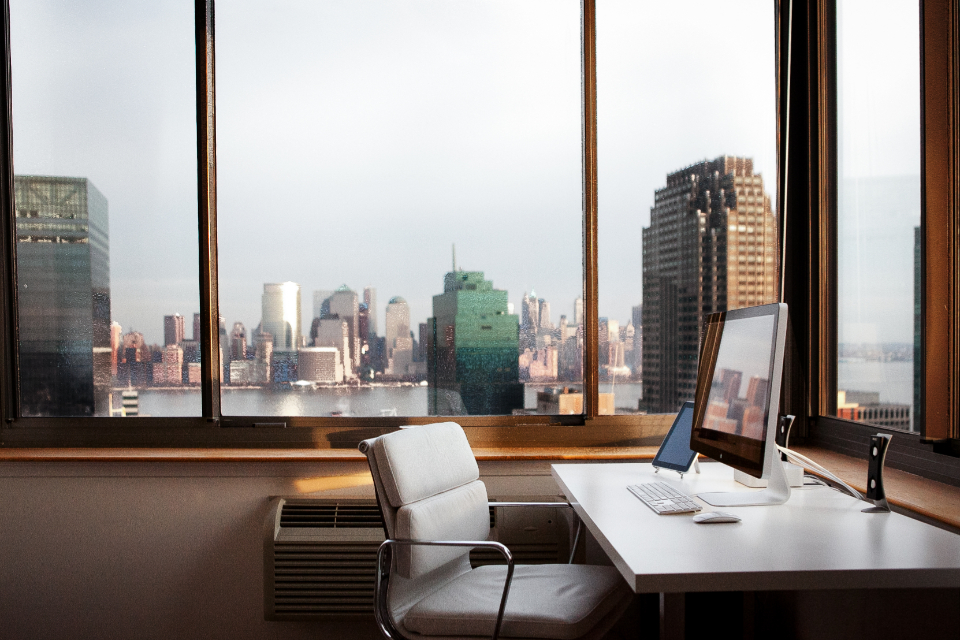 office with computer where online businesses are created and launched