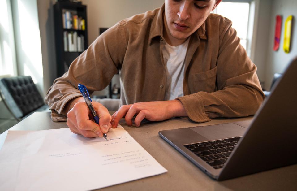 man planning online sales website