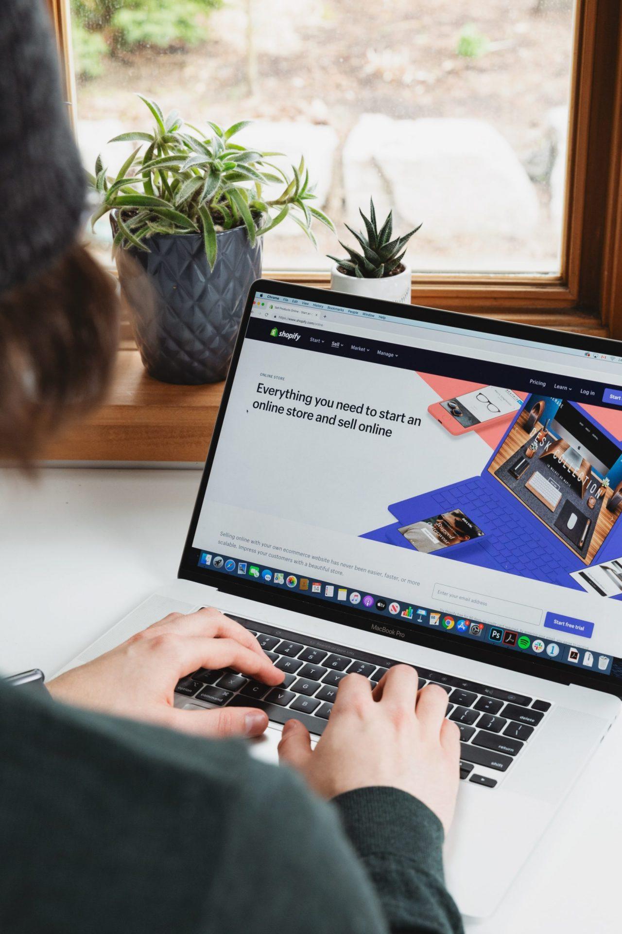 Shopify on laptop
